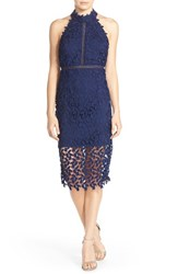 Bardot Women's 'Gemma' Halter Lace Sheath Dress Blue Ink