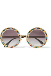 Dolce And Gabbana Crystal Embellished Round Frame Gold Tone Sunglasses One Size