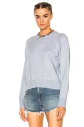 Alexander Wang T By Cashwool Crew Crop Sweater In Blue