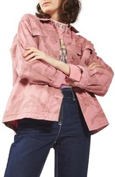 Topshop Women's Camo Army Jacket Pink
