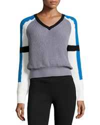 525 America Colorblock V Neck Crop Sweater Sharkskin Combo