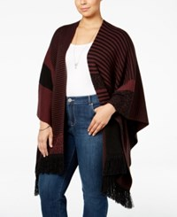 Styleandco. Style Co. Plus Size Jacquard Poncho Only At Macy's Dried Plum Combo