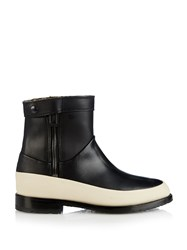 Newbark Riley Shearling Lined Leather Ankle Boots Black Cream