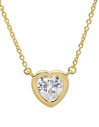 Crislu Hearts Sterling Silver And Cubic Zirconia Necklace Gold