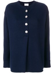 Allude Buttoned Sweater Blue