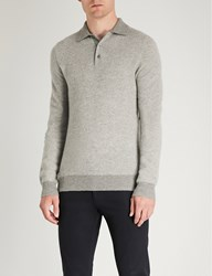 Ralph Lauren Purple Label Half Button Cashmere Sweatshirt Grey