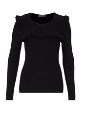 Hallhuber Textured Ruffle Jumper Black