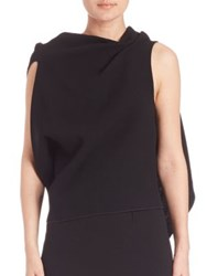 Roland Mouret Eugene Drap Front Open Back Wool Blouse Black