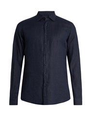 Etro Button Cuff Linen Shirt Navy