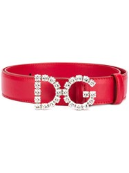 Dolce And Gabbana Dg Leather Belt Pink