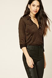 Forever 21 Faux Suede Pocket Shirt Brown