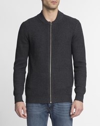 Scotch And Soda Navy Blue Zip Up Wool Cotton Cardigan