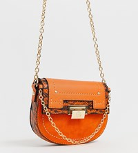 River Island Saddle Crossbody Bag In Orange