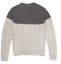 Barena Two Tone Waffle And Cable Knit Wool Blend Sweater Gray