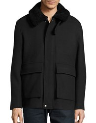 Plac Sherpa Trimmed Zip Front Coat Black