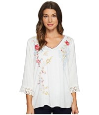 Dylan By True Grit Beach Blossom Embroidered Blouse W Crochet Vintage White Women's Clothing Beige