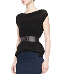 Donna Karan 2' Leather Front Plastic Belt Black Women's