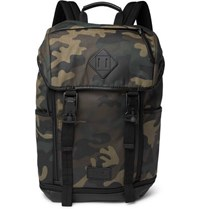 Polo Ralph Lauren Camouflage Print Leather Trimmed Cotton Canvas Backpack Green