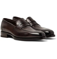 Tom Ford Wessex Polished Leather Penny Loafers Dark Brown