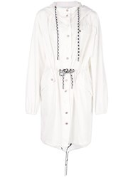 Proenza Schouler Pswl Crinkled Cotton Coat White