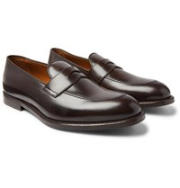 Brunello Cucinelli Leather Penny Loafers Dark Brown