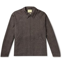De Bonne Facture Prince Of Wales Checked Virgin Wool And Cotton Blend Jacket Brown