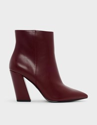 Charles And Keith Slanted Block Heel Boots Burgun