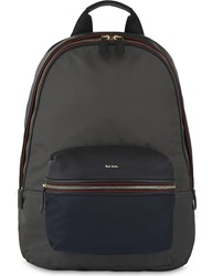 Paul Smith Leather And Nylon Backpack Grey Blue