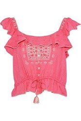 Love Sam Ruffled Embroidered Cotton Gauze Top Pink
