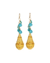 Devon Leigh 18K Yellow Gold Tear Drop Dangle Earrings With Turquoise And Apatite