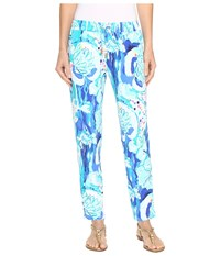 Lilly Pulitzer Lola Pants Brilliant Blue Aquatic Garden Women's Casual Pants