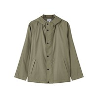 Jigsaw Proofed Linen Hooded Jacket Khaki