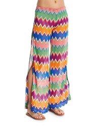 Missoni Mare Zigzag Wide Leg Coverup Pants Multi Colors Size 38 4