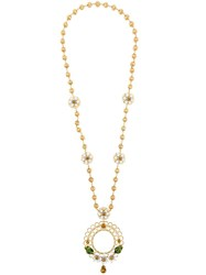 Dolce And Gabbana Floral Cage Long Necklace Metallic