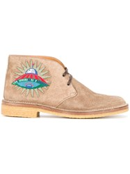 Gucci Embroidered Ankle Boots Men Leather Suede Rubber 8 Nude Neutrals