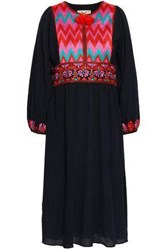 Figue Woman Embroidered Cotton Gauze Dress Navy