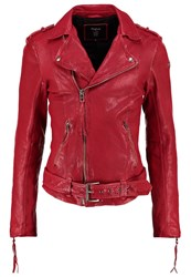 Tigha Ethan Leather Jacket Brick Red