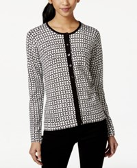 August Silk Geo Print Ribbed Trim Cardigan Foulard Black White