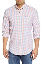 Southern Tide Market Square Regular Fit Stretch Check Sport Shirt Nectar Coral