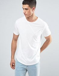 Ringspun Cut And Sew Pocket T Shirt With Curved Hem White