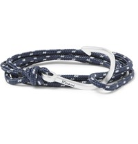 Miansai Hook Cord Silver Plated Wrap Bracelet Storm Blue