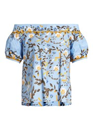 Peter Pilotto Abstract Print Off The Shoulder Top Blue Print