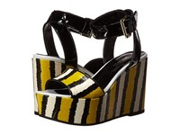 Just Cavalli Striped Printed Leather And Patent Leather Lemon Women's Wedge Shoes Yellow