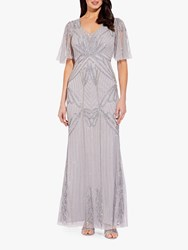 Adrianna Papell Beaded Long Dress Bridal Silver
