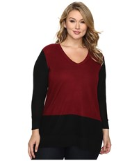 Vince Camuto Plus Size Long Sleeve V Neck Neck Waffle Stitch Color Block Sweater Malbec Red Women's Sweater Burgundy