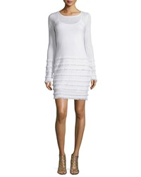 Trina Turk Long Sleeve Sheath Dress W Fringe Ivory