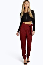Boohoo Wrap Front Tie Waist Tailored Trousers Wine