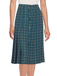 Michael Kors Darlington Silk Skirt Peacock Multi