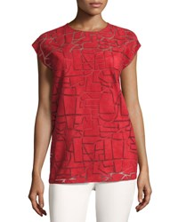 Akris Pieced Suede Cap Sleeve Top Red