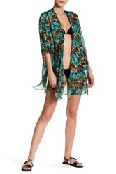 Ale By Alessandra Ambrosio Silk Kimono Cover Up Green